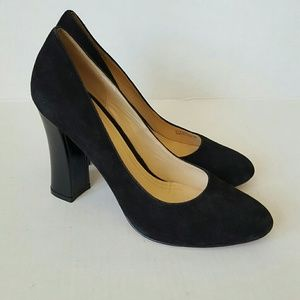 Cole Haan black suede and patent leather heels